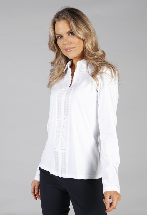 Just White shirt blouse with embroidery