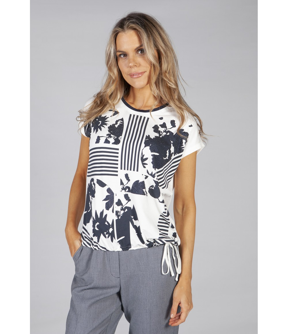 Betty Barclay printed front top with drawstring