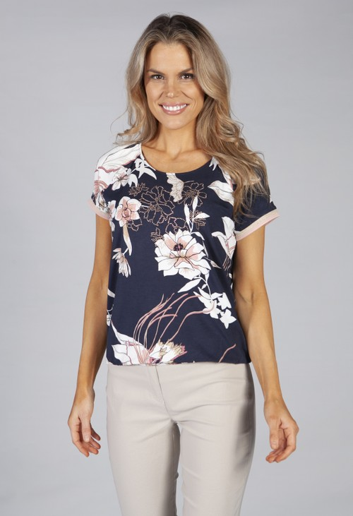 Betty Barclay printed top with elasticated waist in navy