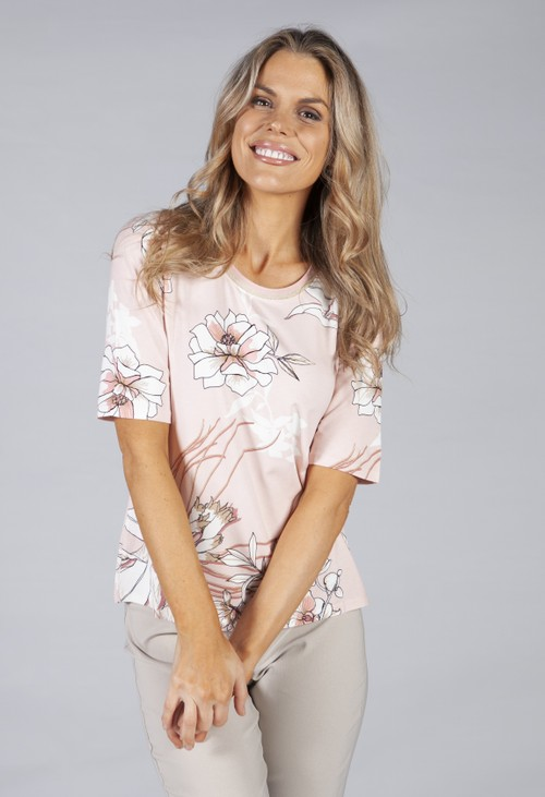 Betty Barclay Basic printed top with flower print in soft pink