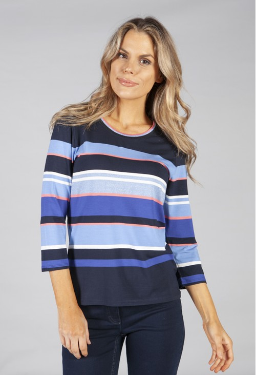 Betty Barclay top in navy and blue stripes