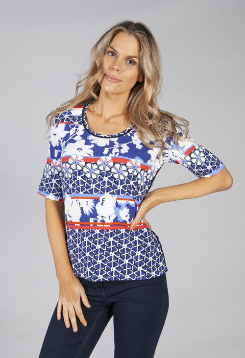 Betty Barclay printed top with rib structure