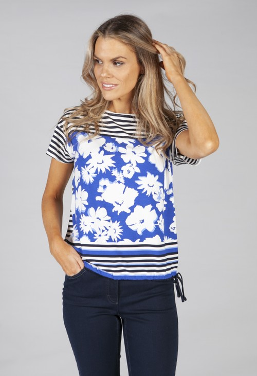 Betty Barclay Stripe And Flower Print Top