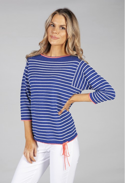 Betty Barclay striped knit in royal blue and white