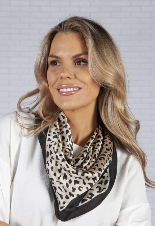 PS Accessories square scarf in a leopard print