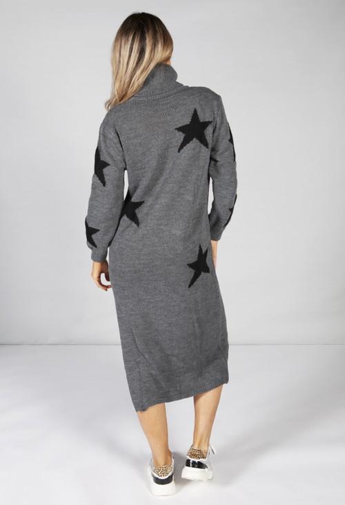 Zapara Dark Grey Knit Star Midi Dress