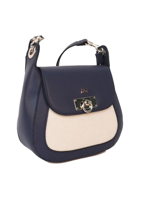 Gionni turnlock saddle bag in navy and off white