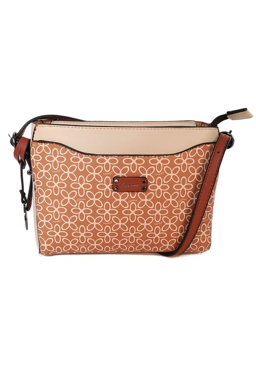 Gionni floral print crossbody bag in tan