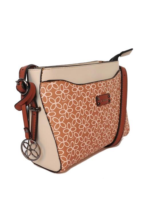 Gionni floral print crossbody bag in tan