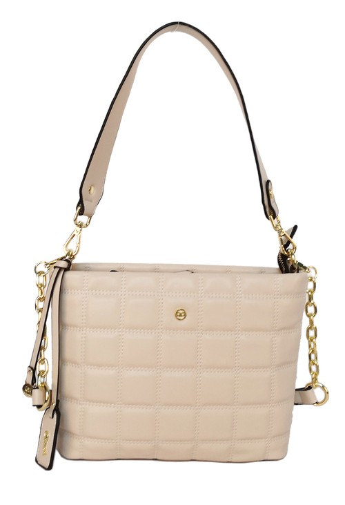 Gionni square quilted handbag in natural