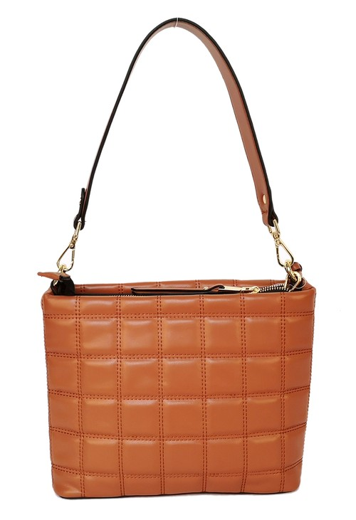 Gionni square quilted handbag in tan