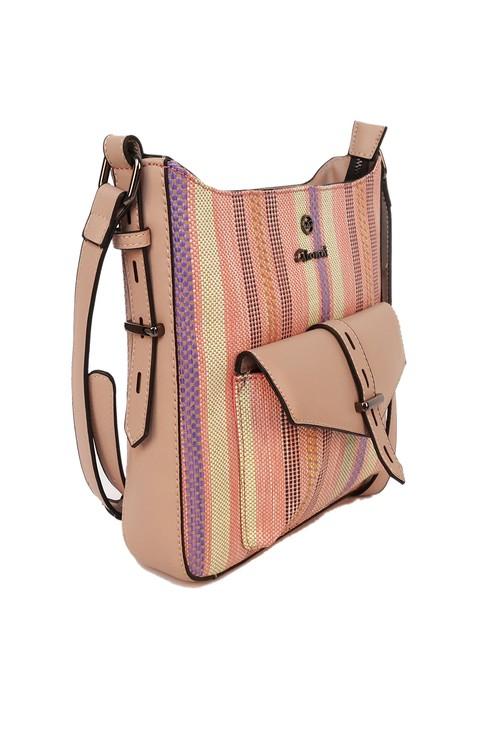 Gionni striped canvas crossbody bag in tan