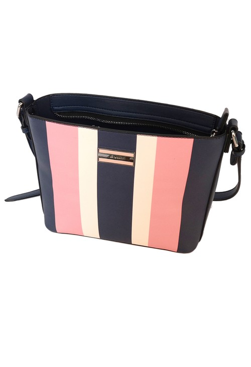 Gionni striped crossbody bag in navy and pink