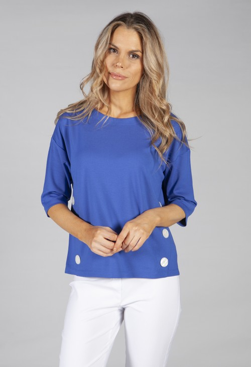 Betty Barclay sweatshirt with button side detail in blue