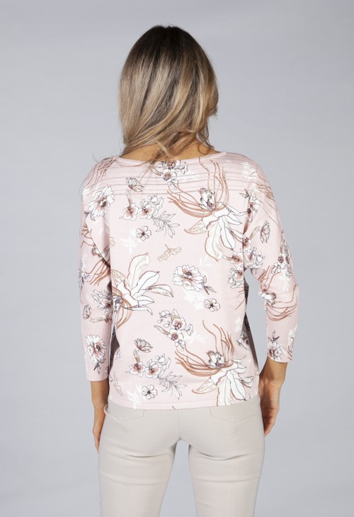Betty Barclay fine knit in a soft rose flower print