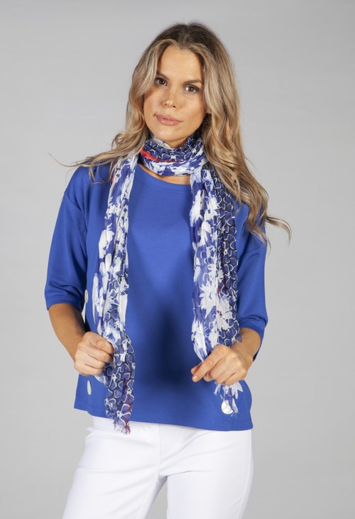 Betty Barclay floral printed scarf in blue and white