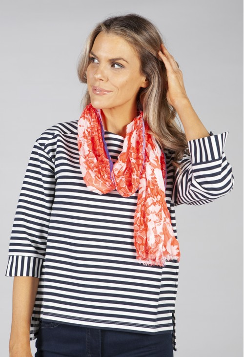 Betty Barclay floral printed scarf in coral and white