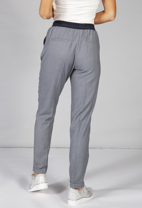 Betty Barclay Turn Up Trouser With Tie Waist in navy
