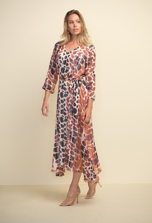 Joseph Ribkoff Animal Print Belted Dress