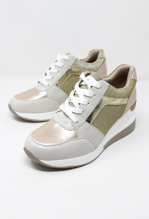 Shoe Lounge Stylish Beige Laced Trainer with Glitter panels