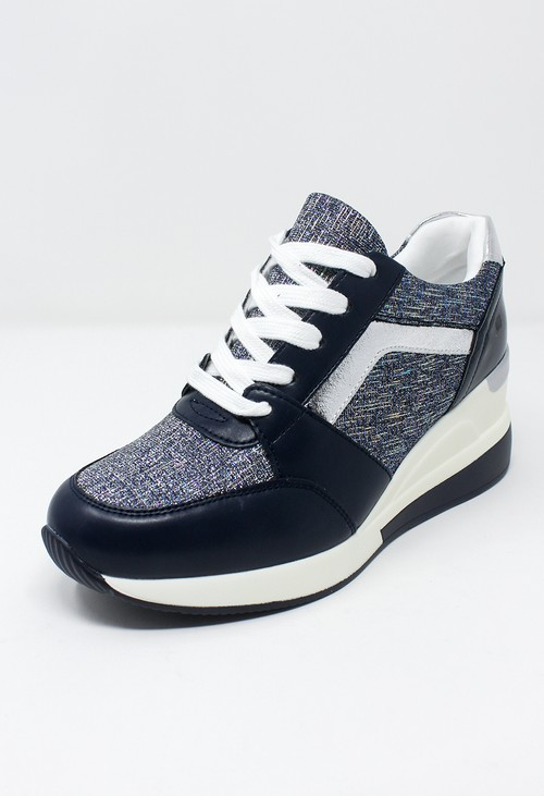 Shoe Lounge Stylish Beige Laced Trainer with Glitter