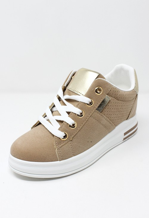 Shoe Lounge Beige trainer with Gold detail