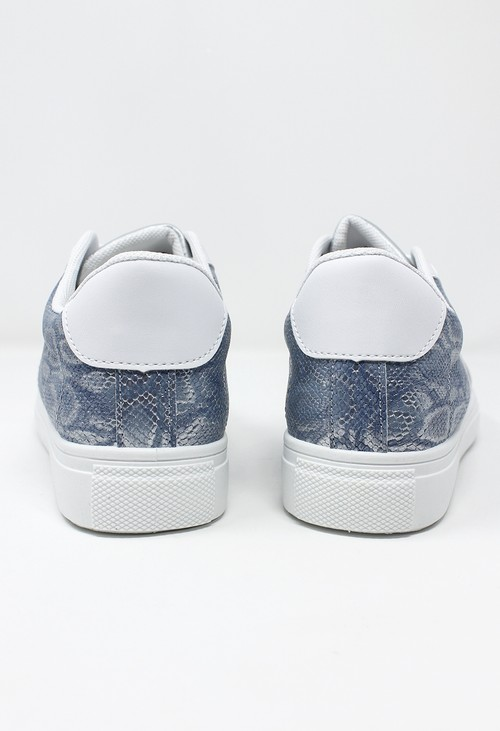 Shoe Lounge White and Blue Snake Print Trainer