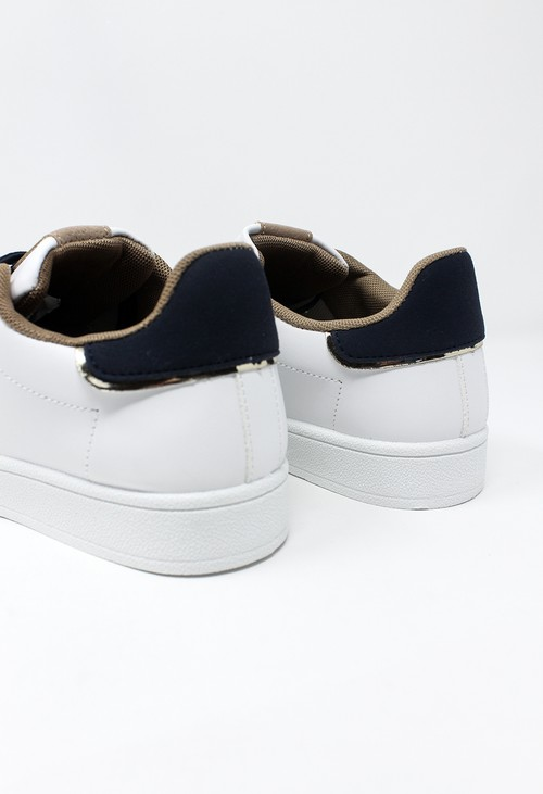 Shoe Lounge White laced trainer with Camel & Navy