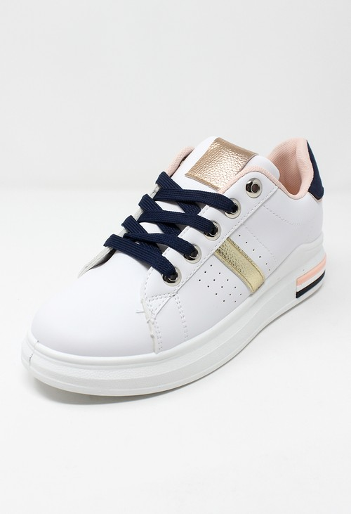 Shoe Lounge White/Navy laced Trainer
