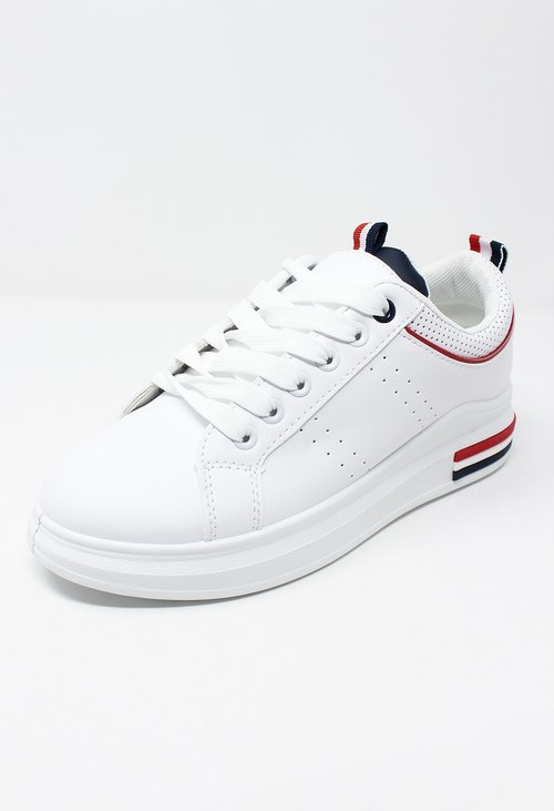 Shoe Lounge White Trainer with Red Piping