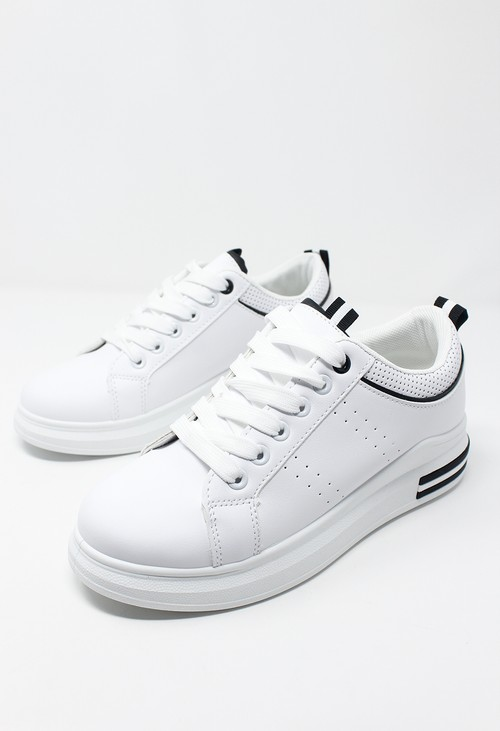 Shoe Lounge White Trainer with Black Piping