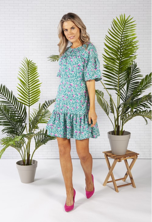 Pamela Scott PETITE FLOWER TIERED DRESS