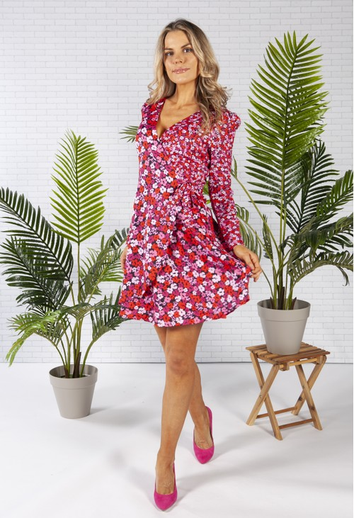 Pamela Scott FAUX WRAP MULTI FLORAL DRESS