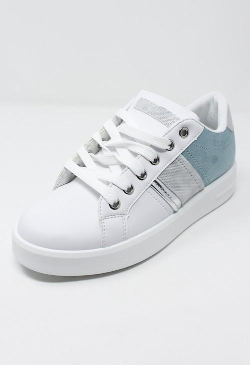 Shoe Lounge White trainer with Aqua Marine