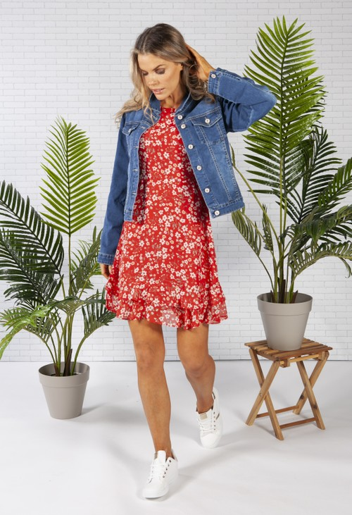 Pamela Scott short chiffon dress in a red floral print