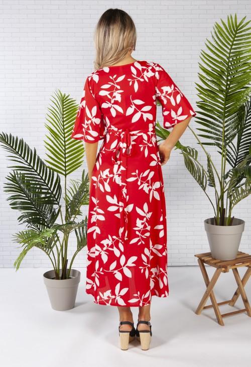 Pamela Scott wrap dress in red with a leaf print design