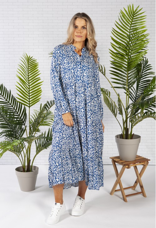 Pamela Scott midi style shirt dress in a blue leopard print