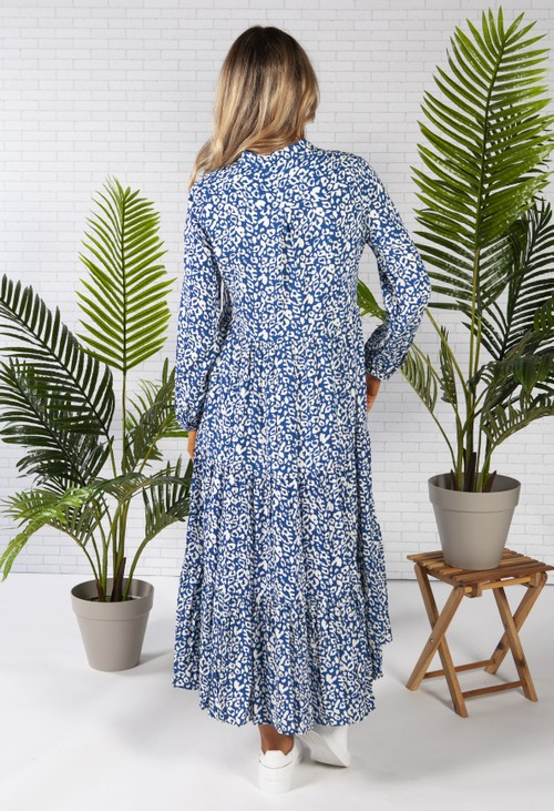 Pamela Scott midi style shirt dress in a blue leopard print