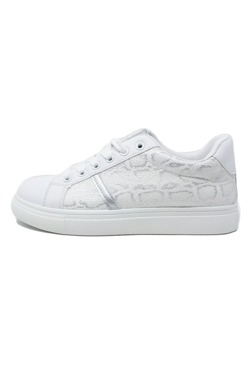 Shoe Lounge White and Snake Print Trainer
