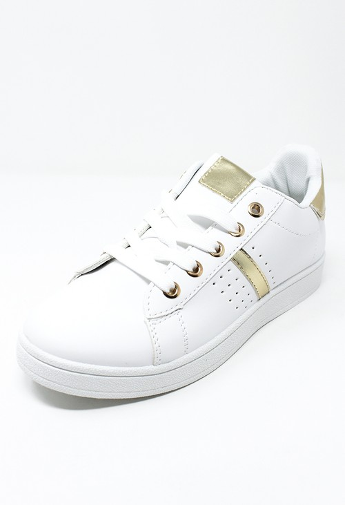 Shoe Lounge White laced trainer with Gold