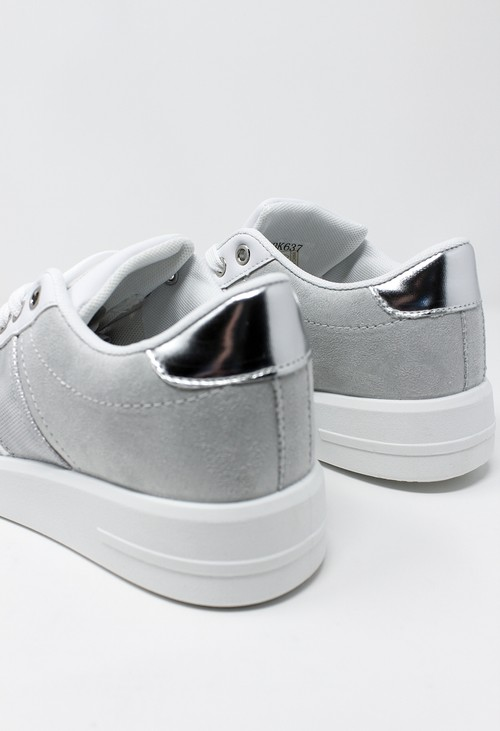 Shoe Lounge White Trainer with Light Grey