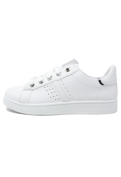 Shoe Lounge White laced trainer with silver