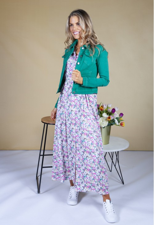 Pamela Scott flower print shirt dress in lilac