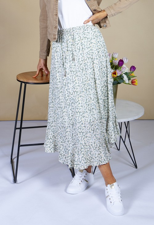 Pamela Scott sage green skirt in a floral print