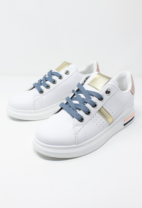 Shoe Lounge White/Pink laced Trainer