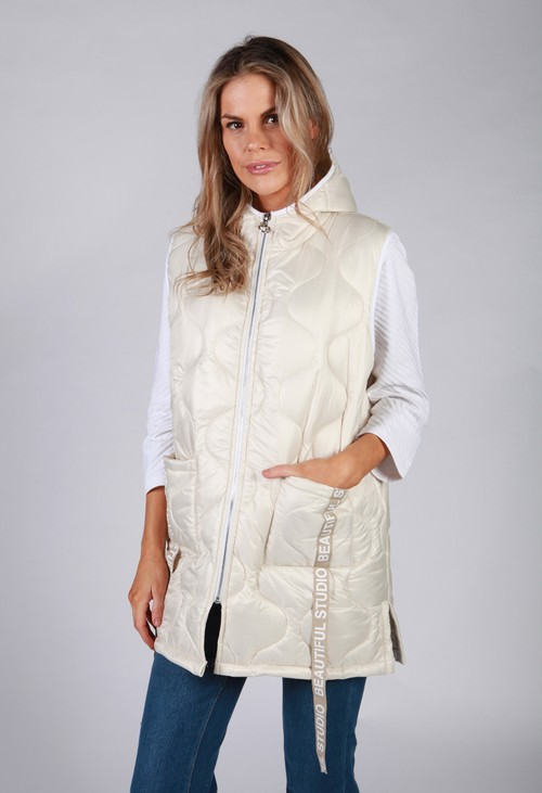 Zapara Quilted Gilet in Beige