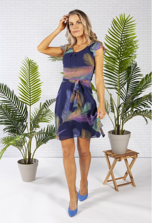 Pamela Scott Chiffon Dress in Navy with a Feather Print Design