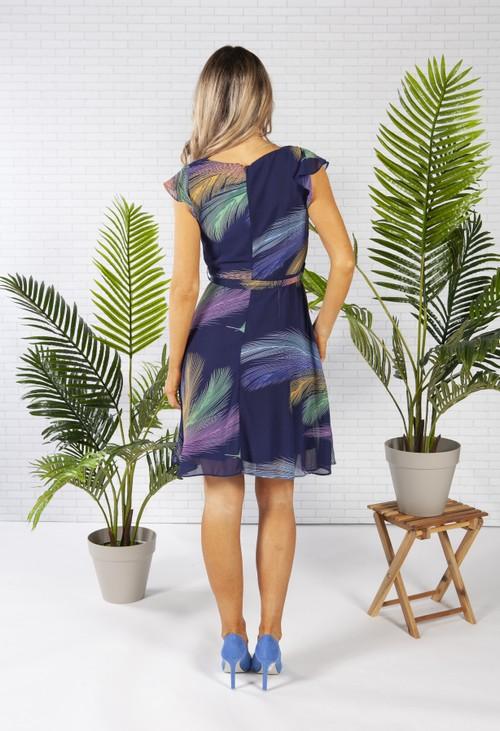 Pamela Scott Chiffon Dress in Navy with a Feather Print Design
