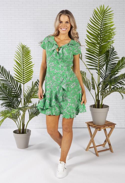 Pamela Scott Ruffle Style Dress in a Green Print