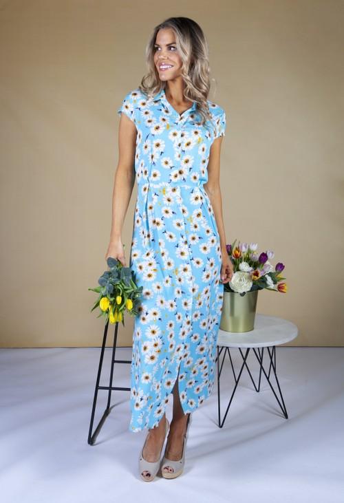 Pamela Scott Daisy Print Shirt Dress in Turquoise